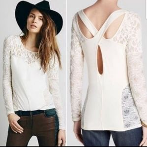 Free People Lace Sweet Thang Lace Top Cross Back